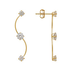 14K Yellow Gold Cubic Zirconia Climber Earrings