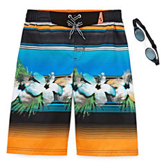 Zero Xposur Boys Terrace Stripes Swim Trunks-Big Kid
