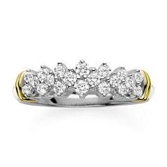 1/2 CT. T.W. Diamond 10K Two-Tone Gold Pyramid Ring