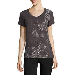 Made For Life Short Sleeve V Neck T-Shirt-Womens Talls