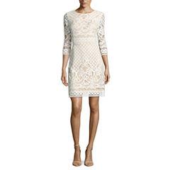 Danny & Nicole 3/4 Sleeve Lace Sheath Dress-Petites