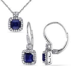 Womens 2-pc. 1/3 CT. T.W. Blue Sapphire 10K Gold Jewelry Set