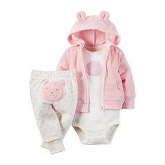Carter's® 3-pc. Bear Hooded Layette Set - Baby Girls newborn-24m