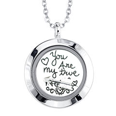 Footnotes Too® You Are My True North Interchangeable Locket Pendant Necklace