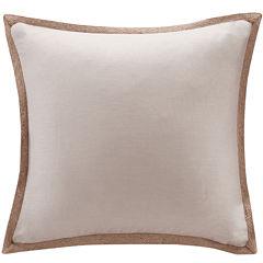 Madison Park Linen Jute Trim Square Feather Pillow