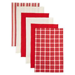 Bardwil Set of 6 Flat Woven Kitchen Towels