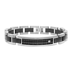 Mens Diamond-Accent Stainless Steel & Leather ID Bracelet