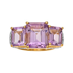 Genuine Pink Amethyst 14K Gold Over Silver Ring