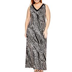 Jennie And Marlis Sleeveless Beaded Stripe Maxi Dress-Plus