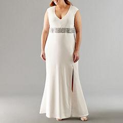 Blu Sage Sleeveless Beaded Evening Gown-Plus