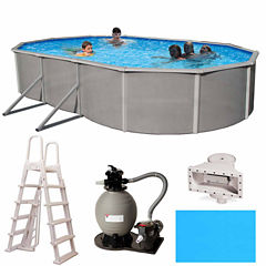 Blue Wave Barcelona Complete 15-ft x 30-ft Oval 48-in Deep Metal Wall Pool Pkg