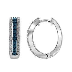 1/2 CT. T.W. White & Color-Enhanced Blue Diamond Sterling Silver Earrings