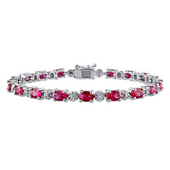 Womens Red Lab Created Ruby Sterling Silver Tennis Bracelet