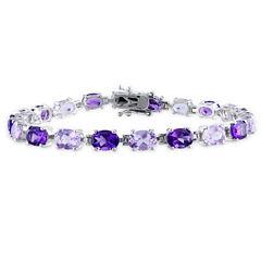 Womens Purple Amethyst Sterling Silver Tennis Bracelet