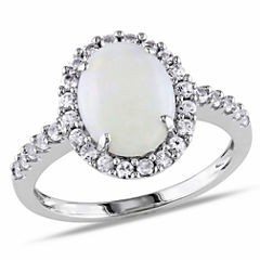 Womens Genuine White Opal 10K Gold Cocktail Ring