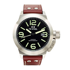 TW Steel Canteen Mens Black Dial Brown Leather Strap Luminous Watch