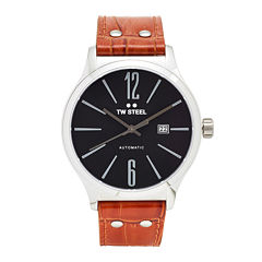 TW Steel Mens Brown and Black Slim Automatic Strap Watch