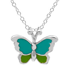 Hallmark Kids Sterling Silver Enamel Butterfly Pendant Necklace