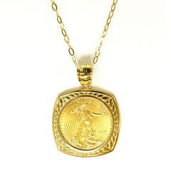 Womens 22K Gold 1/10 Oz Eagle Coin 14K Gold Pendant Necklace