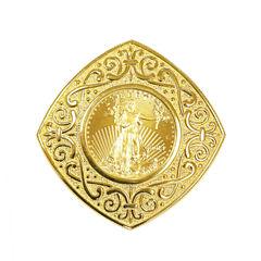 Womens 22K Gold 1/10 Oz Eagle Coin 14K Gold Pendant
