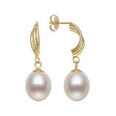 Cultured Freshwater Pearl 10K Yellow Gold Swirl Earrings