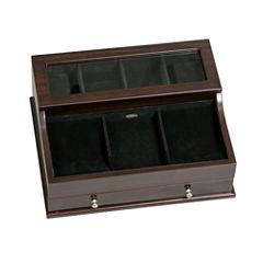 Mele & Co. Men's Glass Top Wooden Dresser Top Valet in Mahogany Finish