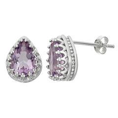 Genuine Amethyst Sterling Silver Earrings