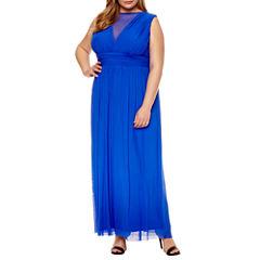 Blue Sage Sleeveless Mesh V Neck Gown