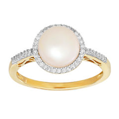 Womens 1/6 CT. T.W. Genuine White Pearl 10K Gold Cocktail Ring