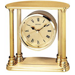 Seiko® Desk And Table Alarm With Floating Dial Gold Tone Clock Qhe101gl
