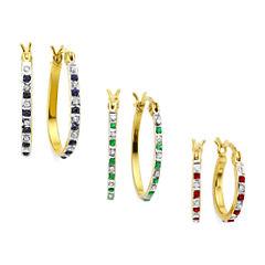3-pr. Lead Glass-Filled Ruby, Genuine Emerald, Sapphire, Diamond Accent Earrings