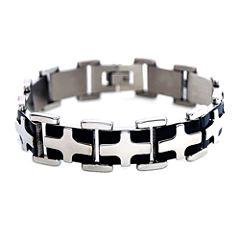 Mens Stainless Steel & Black IP Cross Chain Bracelet