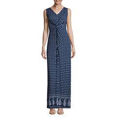 St. John`s Bay Sleeveless Twist Front Maxi Dress-Petites