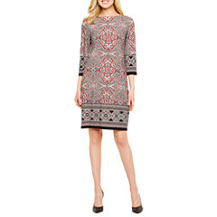 London Style 3/4 Sleeve Shift Dress