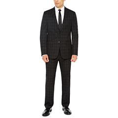 Van Heusen Stretch Black Check Suit Separates-Slim