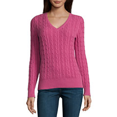 St. John's Bay Long Sleeve V Neck Pullover Sweater