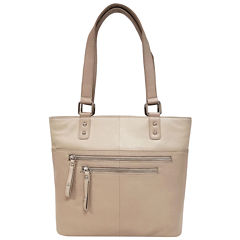 east 5th Leather Front Zip Pocket Tote Bag