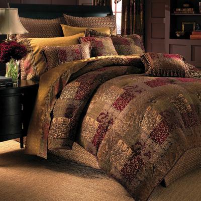 croscill classics catalina red 4pc chenille comforter set u0026 accessories