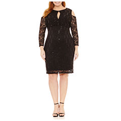 Blu Sage Long Sleeve Lace Sequin Sheath Dress-Plus