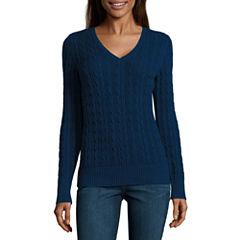 St. John's Bay Long Sleeve V Neck Pullover Sweater