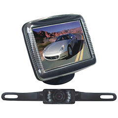 Pyle PLCM36 3.5IN Slim TFT LCD Universal Mount Monitor System with License Plate Mount & Backup Camera