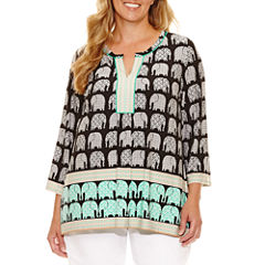 Lark Lane Safari Style Tunic Top Plus