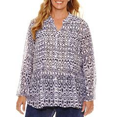 Lark Lane Summer Spirit 3/4 RollSleeve Button-Front Shirt-Plus