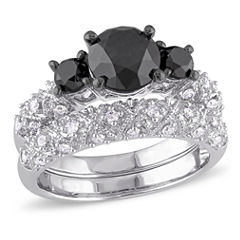 Midnight Black Diamond 3 CT. T.W. Color-Enhanced Black & White Diamond 10K White Gold Bridal Set