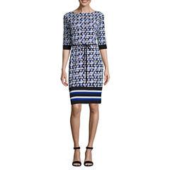 Liz Claiborne 3/4 Sleeve Diamond Shift Dress