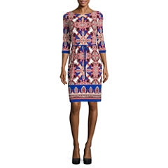 Liz Claiborne 3/4 Sleeve Paisley Shift Dress