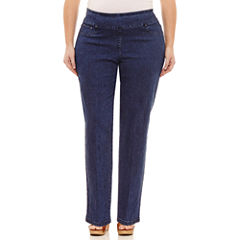 Lark Lane Must Haves Slender Pull-On Denim Pants-Plus