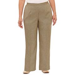 Alfred Dunner Botanical Garden Linen Flat Front Pants-Plus