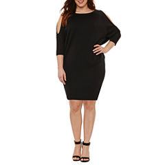 Boutique + 3/4 Split Sleeve Bodycon Dress-Plus