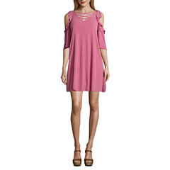 Arizona 3/4 Sleeve Trapeze Dress-Juniors